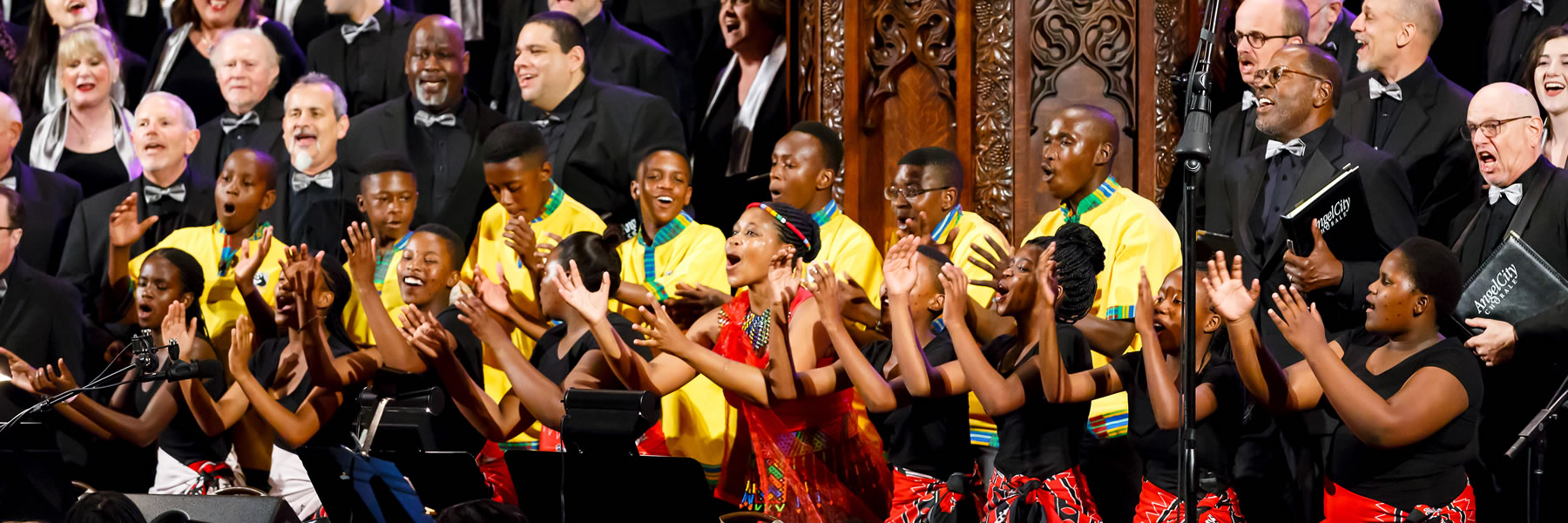 ACC singers in concert hosting a South African youth choir