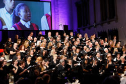 Angel City Chorale in concert with video background